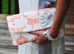 Coral and white linen envelope clutch / evening bag /  with pearl and linen brooch