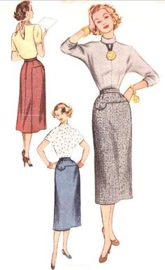 Nice pocket detail on the skirt. I also like the scarf tied in the back! 1950's Sewing Pattern