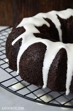 Chocolate Gingerbread Bundt Cake #recipe from justataste.com