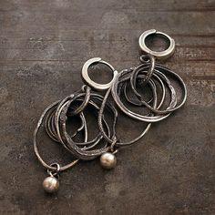 raw+silver+hoop+earrings+++dangle+earrings++sterling+by+ewalompe
