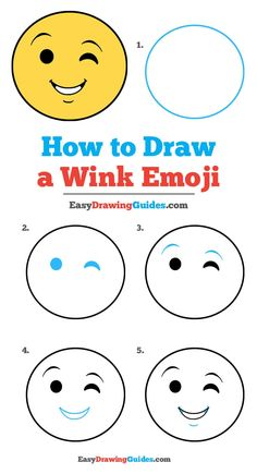 Drawing Doodle Easy - Learn to draw a wink emoji. This step-by-step tutorial makes it easy. Kids and beginners alike can now draw a great looking emoji. Drawing Lessons For Kids, Drawing Tutorials For Kids, Art Drawings For Kids, Drawing Ideas, Emoji Drawings, Kawaii Drawings, Doodle Drawings, Happy Face Drawing, Drawings Pinterest