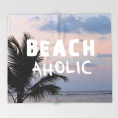 BEACHaholic Throw Blanket Blue Sunset Palm Tree by B2Bdesigns