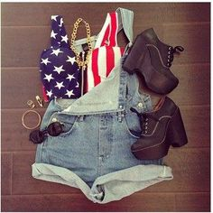 outfited to get someoveralls like this. 4th Of July Outfits, Cute Teen Outfits, Holiday Outfits, Outfits For Teens, Summer Outfits, Girl Outfits, Fashion Outfits, Summer Clothes, September Outfits