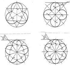 Image of geometric construction of trefoil tracery (for a