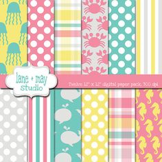 pastel sea life themed digital scrapbook papers by lane + may, $7.00