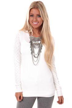 Ivory Silver Gem Sleeve Sweater