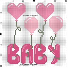 Popcorn Patchwork Blankie for Girls Crochet pattern by Craft Designs for You Baby Cross Stitch Patterns, Cute Cross Stitch, Cross Stitch Heart, Cross Stitch Cards, Cross Stitch Designs, Cross Stitching, Cross Stitch Embroidery, Pixel Art Coeur, Baby Motiv