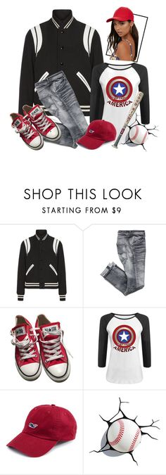 """Take Me Out To The Ball Game"" by ames-ym ❤ liked on Polyvore featuring Yves Saint Laurent, Converse, Vineyard Vines, womensFashion and sportsattire"