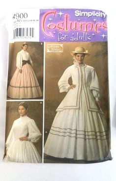 Simplicity 4900 Andrea Schewe Costumes for Adults 2004 N5 Uncut Period Dress #Simplicity