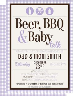 Beer BBQ & Baby Talk CoEd Baby Shower Invite by KateOGroup on Etsy, $15.00