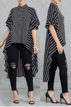 Casual Asymmetrical Striped Black Blouse in 2020 Batik Fashion, Fashion Fashion, Night Out Outfit, Stripes Fashion, Blouses For Women, Ladies Blouses, Chic Outfits, Work Outfits, Casual Tops