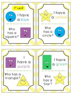 SHAPES - I Have, Who Has? Fun game to use in class when teaching about shapes.