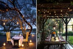 Someday when I have a backyard...I will have pretty lights like this and have lovely dinner parties al fresco!