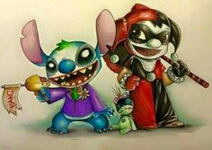 Lilo and stitch as the joker and Harley Quinn