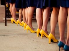 Love it! Everyone gets the same dress and Maid/Matron of Honor gets a different pair of heels. Perfect.