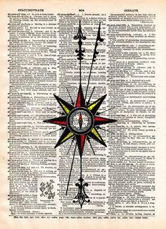 Compass rose, Nautical art print, vintage dictionary page book art print