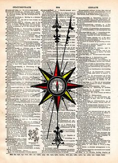 Compass rose, Nautical art print, vintage dictionary page book art print