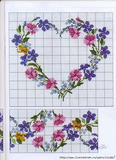 Floral Heart Cross Stitch