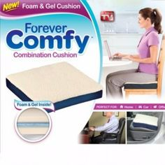 The Forever Comfy Combination Cushion provides support and comfort for both your back and bottom when you sit down. It will help prevent your back from aching and your bottom from becoming sore when you sit down for too long.