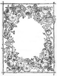 1800's lush floral frame:    http://lilac-n-lavender.blogspot.com/2012/02/in-garden-gift-tags.html  ...  http://lilac-n-lavender.blogspot.com/2012/03/antiqued-lined-paper-stationary.html