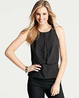 Spaced Geo Print Keyhole Peplum Shell - A keyhole detailed cutaway front puts a modern spin on this wear-with-all shell, confidently cast for the season in a graphic geo print. Jewel neck. Sleeveless. Front overlay with shirred waist and bottom hem band. Hidden back zipper.