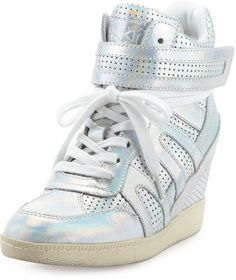 Ash Beck Iridescent Leather Wedge Sneaker, Silver on shopstyle.com