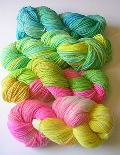 Springy hand dyed yarns (by kathrynivy.com)