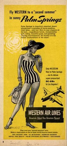 Western Air Line's Palm Springs- (1953)-Did she go on the plane in her swim suit?