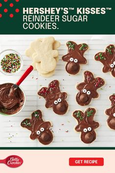 Rudolf might be the frontrunner when it comes to the sleigh, but when it comes to these Hershey's™ Kisses™ Reindeer Sugar Cookies, you take the lead. They're made delicious and easy with our Betty Crocker cookie mix. Then for the decorations. Your kids can help you put these creative little faces together with Betty Crocker Candy Eyeballs. After all, they do say you eat with your eyes first. Make the memories that make Christmas the best time of year. Cute Christmas Cookies, Christmas Snacks, Xmas Cookies, Christmas Cooking, Christmas Goodies, Christmas Candy, Holiday Treats, Sugar Cookies, Holiday Recipes