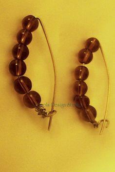 Sterling Silver Hoop Earrings with Golden Brown beads and self hook