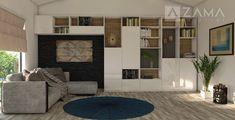 Biela lesklá knižnica s jemným dreveným akcentom