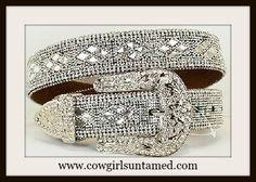 COWGIRL GLAM BELT Crystal and Rhinestone Silver Buckle Belt #rhinestonebelt…