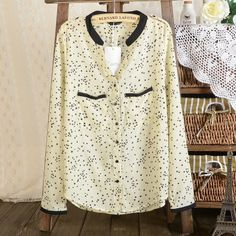 wholesale Saucy casual stars stand-up neck blouses BD-C0975 yellow