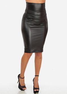 High Waisted Leather Midi Skirt (Black)