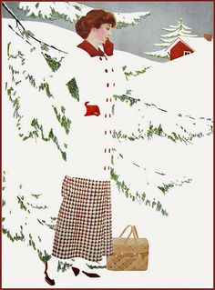 "A ""fadeaway"" girl with her winter basket by Coles Phillips from ""A Young Man's Fancy"" 1912 - love the spats"