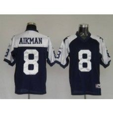 Cowboys  8 Troy Aikman Blue Thanksgiving Stitched Throwback NFL Jersey Troy  Aikman 47da590ee