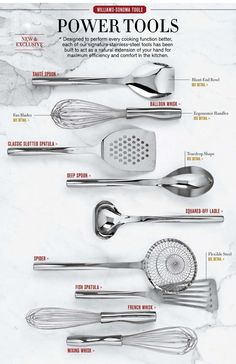 Stainless Steel Utensils & Essential Kitchen Tools Williams-Sonoma Going back to basics. I'm aiming to replace all of my synthetic kitchenware with classic materials - steel, glass, wood. Cooking Gadgets, Cooking Utensils, Cooking Tools, Kitchen Utensils, Kitchen Knives, Kid Cooking, Cooking Light, Kitchen Items, Kitchen Hacks