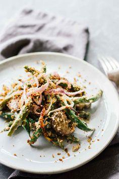 Vegan Green Bean Casserole w/ Rosemary Garlic Mushrooms! Perfect for a healthy Thanksgiving side dish!
