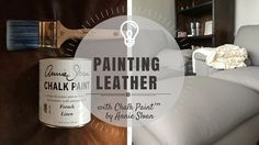 PAINTING LEATHER with Chalk Paint™ By Annie Sloan - PART 1 A couple of years ago, by husband and I bought a new couch as a (VERY) belated wedding present. The old leather couch, love seat and chair (hand-me-downs from Justin's parents) made their way to t Paint Leather Couch, Leather Headboard, Leather Furniture, Paint Furniture, Furniture Makeover, Furniture Stores, Leather Chairs, Furniture Upholstery, Furniture Outlet