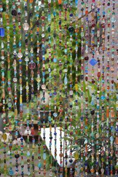 Kralengordijn glas multi-colour
