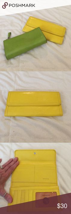 Two leather Monsac pieces Monsac yellow leather tri-fold wallet and a small cute green zipper make-up case. Both pieces in EUC! The wallet is new but something did rub up against the leather while in storage (just one spot on front flap). I can send additional pics if you would like. Monsac Bags Wallets