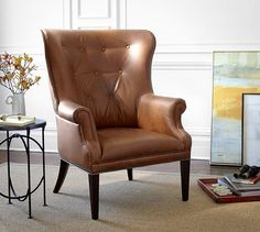 """$1300 34.75"""" w x 35"""" d x 44.5"""" x2 to flank the fireplace Hatton Tufted Wingback Leather Chair 