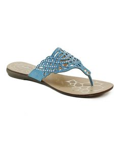 Love this Turquoise Cutout Rhinestone Sandal on #zulily! #zulilyfinds