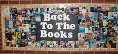 Library Displays: Back to the Books. Great way to use dust covers from books!