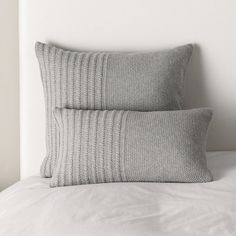 Ashford Cushion Covers - Silver Grey from The White Company Knitted Cushions, Bed Cushions, Boho Pillows, Knitted Blankets, Knitted Cushion Covers, Crochet Pillow Pattern, Knit Pillow, The White Company, Crochet Home