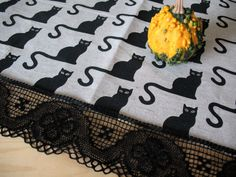 Linen Runner Tablecloth Burlap Halloween Cat Black by Initasworks
