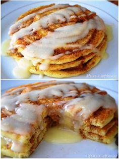 Cinnamon Roll Pancakes | Family Thanksgiving Breakfast = Homemade Pancakes | Mouthwatering Pancake Recipes
