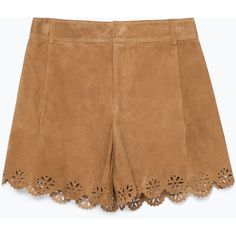 Zara Suede Cutwork Shorts ($20) ❤ liked on Polyvore featuring shorts, bottoms, short, pants, honey, zara shorts, short shorts and suede shorts