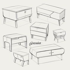 Sofa Drawing Set Of Sofas Drawings Sketch Style Vector