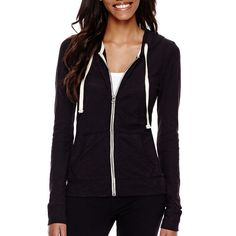 City Streets Long-Sleeve Zip-Front Hoodie ($20) ❤ liked on Polyvore featuring tops, hoodies, double layer top, hooded pullover, hoodie top, zipper front top and city streets